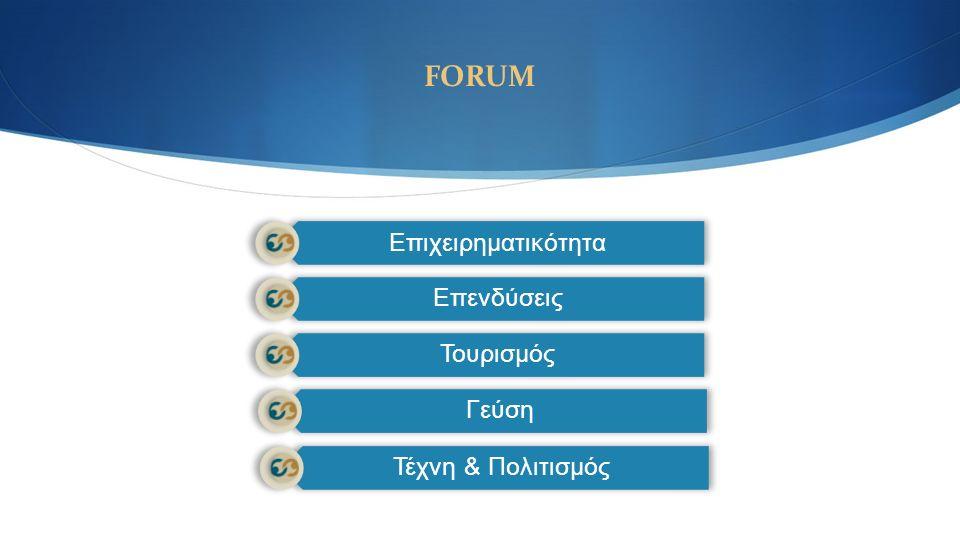 FORUM Επιχειρηματικότητα Επενδύσεις Τουρισμός Γεύση Τέχνη & Πολιτισμός