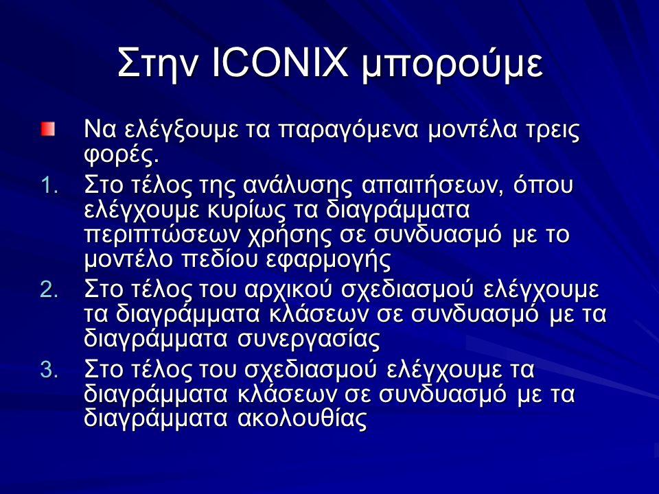 Στην ICONIX μπορούμε Να ελέγξουμε τα παραγόμενα μοντέλα τρεις φορές. 1. Στο τέλος της ανάλυσης απαιτήσεων, όπου ελέγχουμε κυρίως τα διαγράμματα περιπτ
