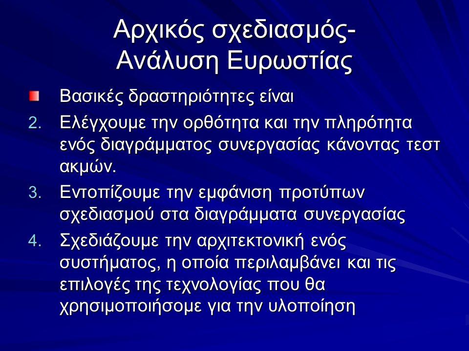 Αρχικός σχεδιασμός- Ανάλυση Ευρωστίας Βασικές δραστηριότητες είναι 2. Ελέγχουμε την ορθότητα και την πληρότητα ενός διαγράμματος συνεργασίας κάνοντας