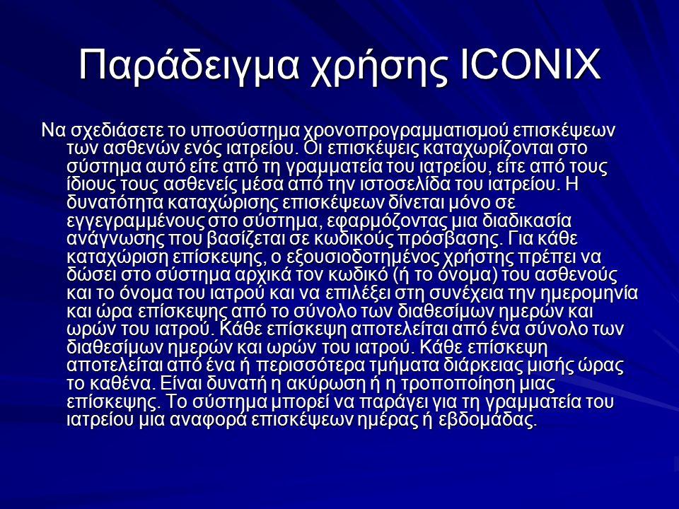Παράδειγμα χρήσης ICONIX Να σχεδιάσετε το υποσύστημα χρονοπρογραμματισμού επισκέψεων των ασθενών ενός ιατρείου. Οι επισκέψεις καταχωρίζονται στο σύστη