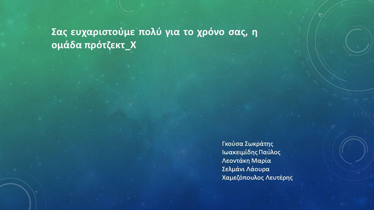 Σας ευχαριστούμε πολύ για το χρόνο σας, η ομάδα πρότζεκτ_Χ Γκούσα Σωκράτης Ιωακειμίδης Παύλος Λεοντάκη Μαρία Σελμάνι Λάουρα Χαμεζόπουλος Λευτέρης