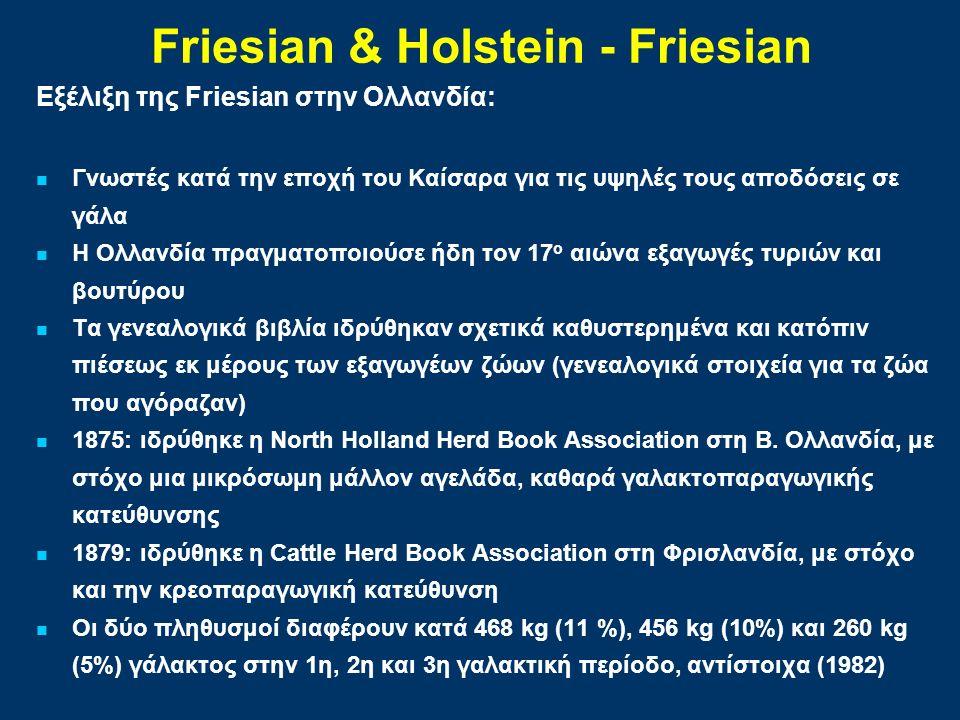Εξέλιξη της Friesian στην Ολλανδία: Γνωστές κατά την εποχή του Καίσαρα για τις υψηλές τους αποδόσεις σε γάλα Η Ολλανδία πραγματοποιούσε ήδη τον 17 ο αιώνα εξαγωγές τυριών και βουτύρου Τα γενεαλογικά βιβλία ιδρύθηκαν σχετικά καθυστερημένα και κατόπιν πιέσεως εκ μέρους των εξαγωγέων ζώων (γενεαλογικά στοιχεία για τα ζώα που αγόραζαν) 1875: ιδρύθηκε η North Holland Herd Book Association στη Β.