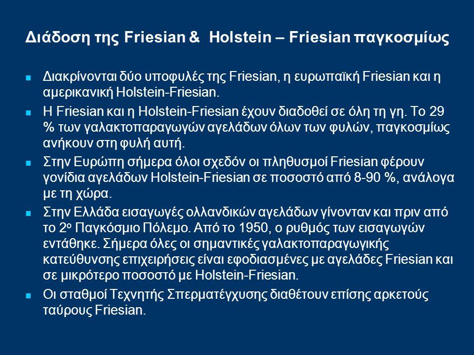 Διάδοση της Friesian & Ηolstein – Friesian παγκοσμίως Διακρίνονται δύο υποφυλές της Friesian, η ευρωπαϊκή Friesian και η αμερικανική Holstein-Friesian