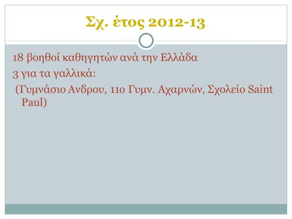 Σχ. έτος 2012-13 18 βοηθοί καθηγητών ανά την Ελλάδα 3 για τα γαλλικά: (Γυμνάσιο Ανδρου, 11ο Γυμν.