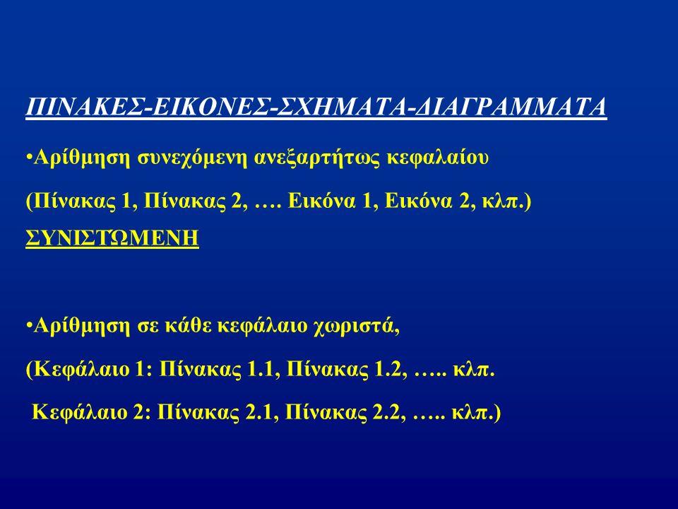 ΠΙΝΑΚΕΣ-ΕΙΚΟΝΕΣ-ΣΧΗΜΑΤΑ-ΔΙΑΓΡΑΜΜΑΤΑ Αρίθμηση συνεχόμενη ανεξαρτήτως κεφαλαίου (Πίνακας 1, Πίνακας 2, ….