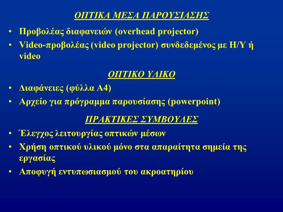 ΟΠΤΙΚΑ ΜΕΣΑ ΠΑΡΟΥΣΙΑΣΗΣ Προβολέας διαφανειών (overhead projector) Video-προβολέας (video projector) συνδεδεμένος με Η/Υ ή video ΟΠΤΙΚΟ ΥΛΙΚΟ Διαφάνειες (φύλλα Α4) Αρχείο για πρόγραμμα παρουσίασης (powerpoint) ΠΡΑΚΤΙΚΕΣ ΣΥΜΒΟΥΛΕΣ Έλεγχος λειτουργίας οπτικών μέσων Χρήση οπτικού υλικού μόνο στα απαραίτητα σημεία της εργασίας Αποφυγή εντυπωσιασμού του ακροατηρίου