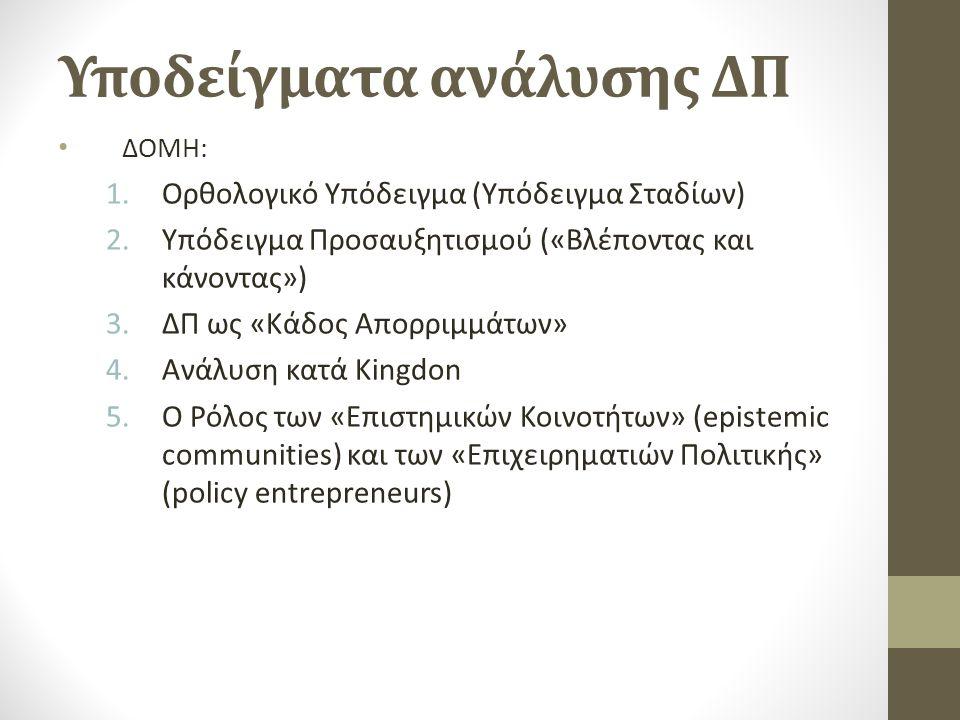 Υποδείγματα ανάλυσης ΔΠ ΔΟΜΗ: 1.Ορθολογικό Υπόδειγμα (Υπόδειγμα Σταδίων) 2.Υπόδειγμα Προσαυξητισμού («Βλέποντας και κάνοντας») 3.ΔΠ ως «Κάδος Απορριμμάτων» 4.Ανάλυση κατά Kingdon 5.O Ρόλος των «Επιστημικών Κοινοτήτων» (epistemic communities) και των «Επιχειρηματιών Πολιτικής» (policy entrepreneurs)