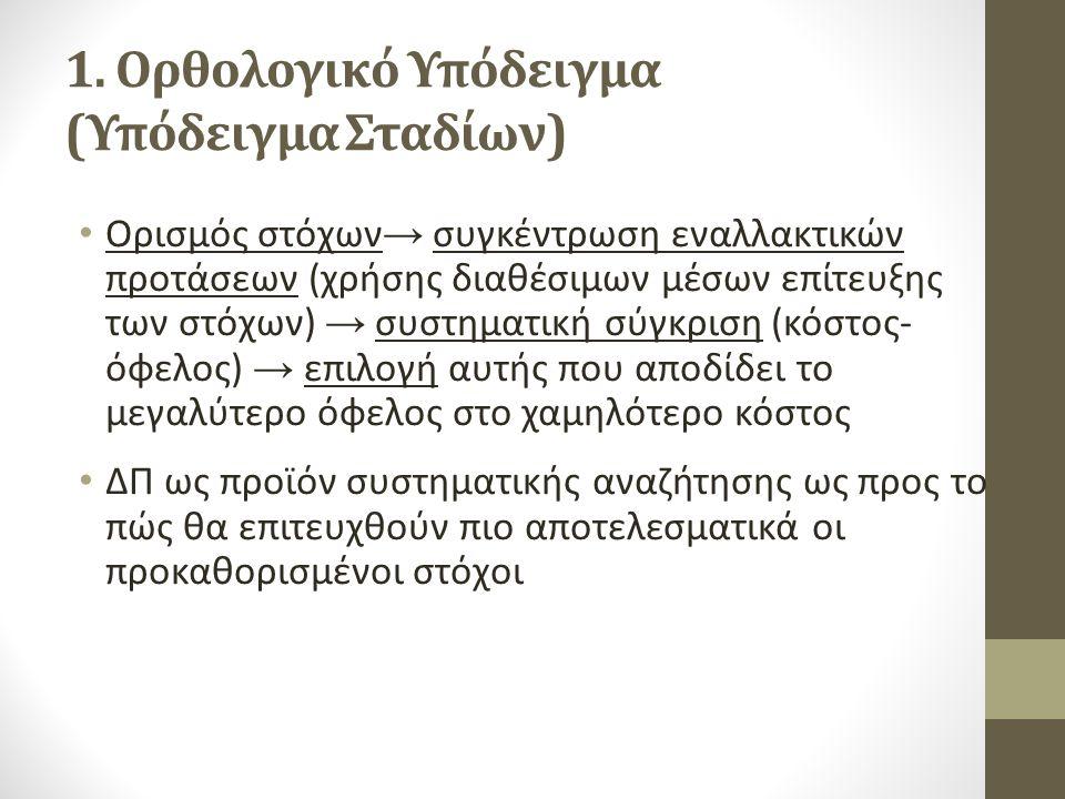 1. Ορθολογικό Υπόδειγμα (Υπόδειγμα Σταδίων) Ορισμός στόχων → συγκέντρωση εναλλακτικών προτάσεων (χρήσης διαθέσιμων μέσων επίτευξης των στόχων) → συστη