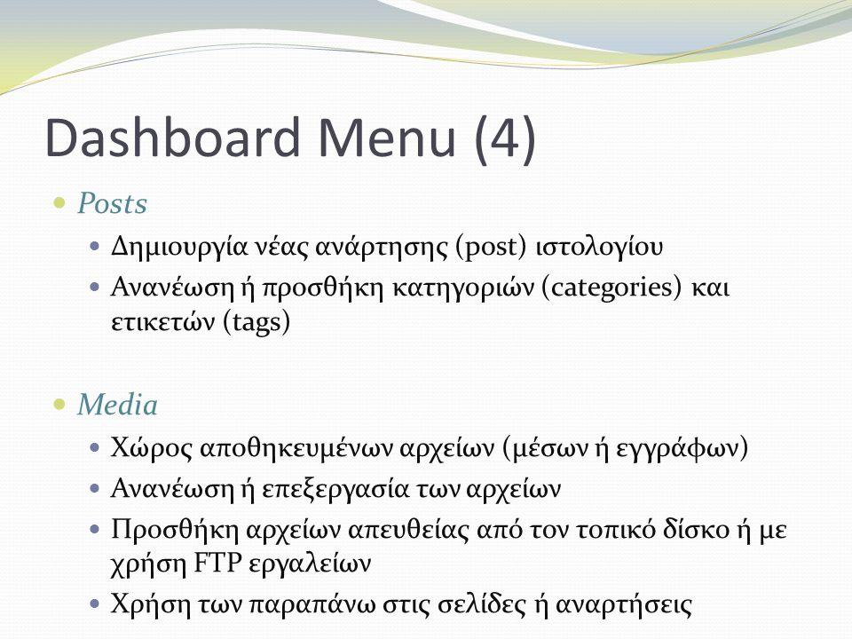 Dashboard Menu (4) Posts Δημιουργία νέας ανάρτησης (post) ιστολογίου Ανανέωση ή προσθήκη κατηγοριών (categories) και ετικετών (tags) Media Xώρος αποθηκευμένων αρχείων (μέσων ή εγγράφων) Ανανέωση ή επεξεργασία των αρχείων Προσθήκη αρχείων απευθείας από τον τοπικό δίσκο ή με χρήση FTP εργαλείων Χρήση των παραπάνω στις σελίδες ή αναρτήσεις