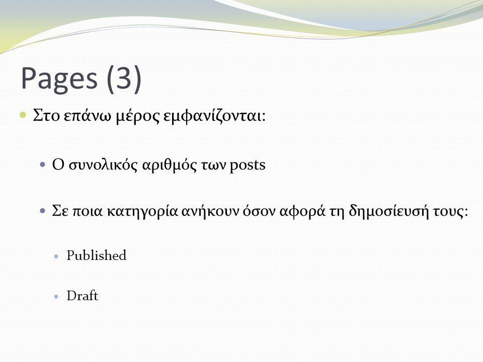 Pages (3) Στο επάνω μέρος εμφανίζονται: Ο συνολικός αριθμός των posts Σε ποια κατηγορία ανήκουν όσον αφορά τη δημοσίευσή τους: Published Draft