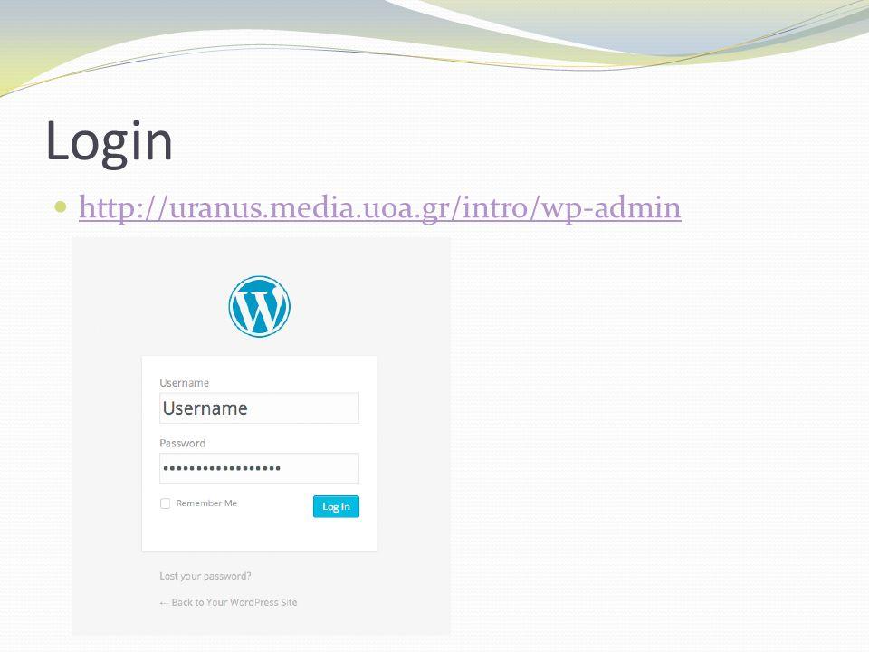 Dashboard (1) Kύρια σελίδα διαχείρησης Όνομα συνδεδεμένου χρήστη/διαχειριστή (δεξιά) και ιστοσελίδας (αριστερά) και στην κεφαλίδα και υπερσύνδεσμος σε αυτή New Feature Pointer: Νέα προσθήκη ή ανανέωση κάποιου στοιχείου στο Dashboard Screen options: Διαχείρηση στοιχείων του Dashboard