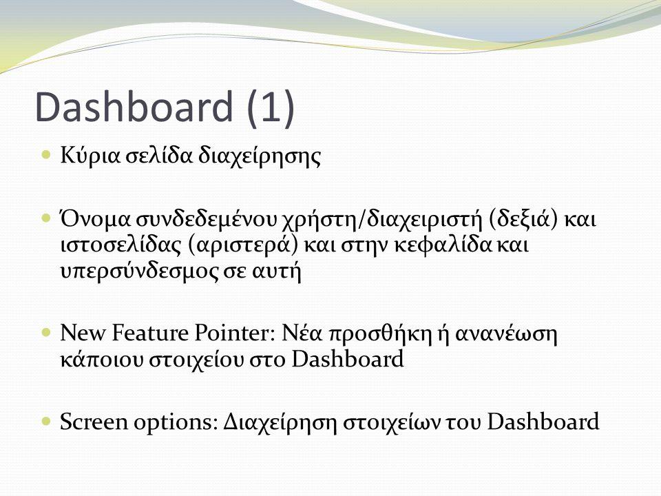 Dashboard (1) Kύρια σελίδα διαχείρησης Όνομα συνδεδεμένου χρήστη/διαχειριστή (δεξιά) και ιστοσελίδας (αριστερά) και στην κεφαλίδα και υπερσύνδεσμος σε