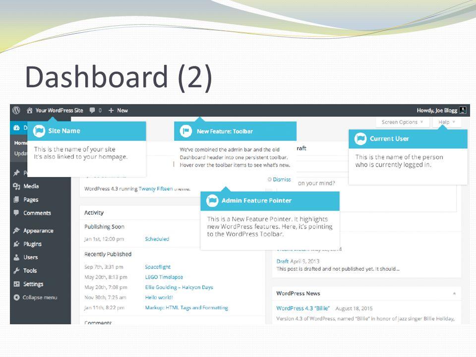 Dashboard Menu (1) Αριστερά: Κύριο μενού πλοήγησης Επιλογές για ανανέωση και διαχείρηση της ιστοσελίδας Πέρασμα ποντικιού πάνω από κάθε επιλογή του μενού εμφανίζει ένα αναδιπλούμενο υπομενού Κλικ σε κάθε επιλογή του μενού εμφανίζει σε λεπτομερή μορφή ολόκληρο το υπομενού
