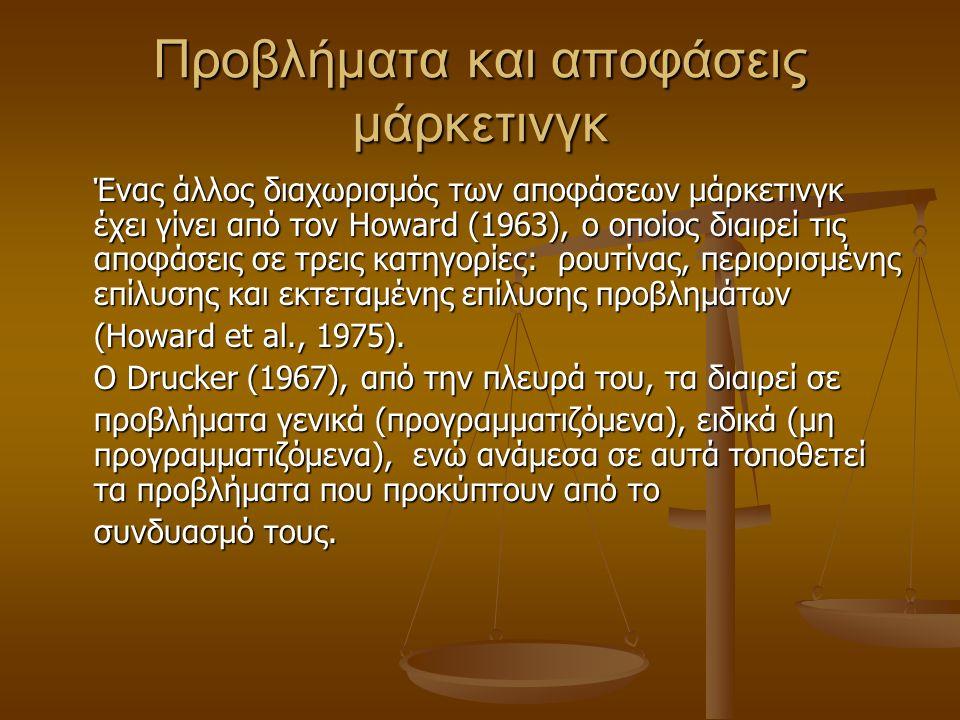 Προβλήματα και αποφάσεις μάρκετινγκ Ένας άλλος διαχωρισμός των αποφάσεων μάρκετινγκ έχει γίνει από τον Howard (1963), ο οποίος διαιρεί τις αποφάσεις σ