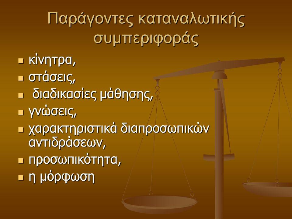 Παράγοντες καταναλωτικής συμπεριφοράς κίνητρα, κίνητρα, στάσεις, στάσεις, διαδικασίες μάθησης, διαδικασίες μάθησης, γνώσεις, γνώσεις, χαρακτηριστικά δ