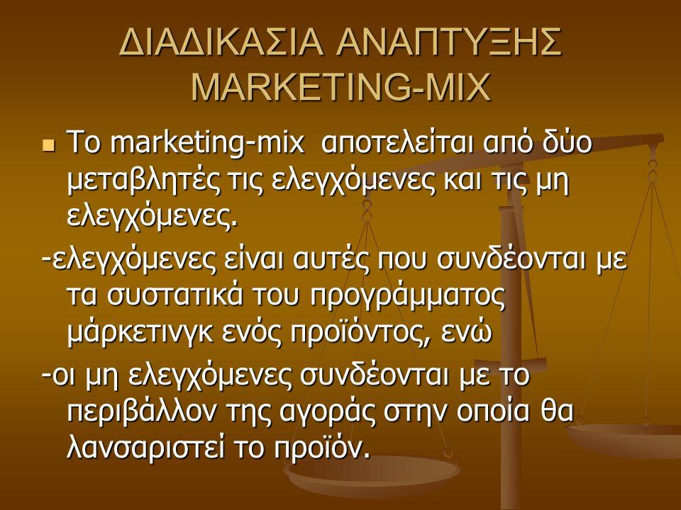 ΔΙΑΔΙΚΑΣΙΑ ΑΝΑΠΤΥΞΗΣ MARKETING-MIX Το marketing-mix αποτελείται από δύο μεταβλητές τις ελεγχόμενες και τις μη ελεγχόμενες. Το marketing-mix αποτελείτα
