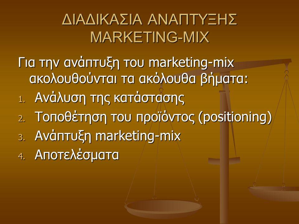 ΔΙΑΔΙΚΑΣΙΑ ΑΝΑΠΤΥΞΗΣ MARKETING-MIX Για την ανάπτυξη του marketing-mix ακολουθούνται τα ακόλουθα βήματα: 1. Ανάλυση της κατάστασης 2. Τοποθέτηση του πρ