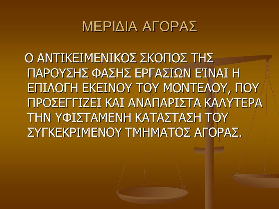 ΜΕΡΙΔΙΑ ΑΓΟΡΑΣ Ο ΑΝΤΙΚΕΙΜΕΝΙΚΟΣ ΣΚΟΠΟΣ ΤΗΣ ΠΑΡΟΥΣΗΣ ΦΑΣΗΣ ΕΡΓΑΣΙΩΝ ΕΊΝΑΙ Η ΕΠΙΛΟΓΗ ΕΚΕΙΝΟΥ ΤΟΥ ΜΟΝΤΕΛΟΥ, ΠΟΥ ΠΡΟΣΕΓΓΙΖΕΙ ΚΑΙ ΑΝΑΠΑΡΙΣΤΑ ΚΑΛΥΤΕΡΑ ΤΗΝ Υ