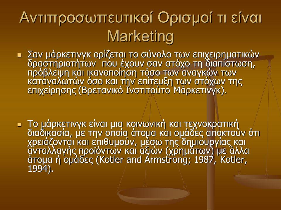 Αντιπροσωπευτικοί Ορισμοί τι είναι Marketing Για το μάρκετινγκ-μάνατζμεντ γίνεται αποδεκτός ο ορισμός, που έχει υιοθετήσει η American Marketing Association, και ο οποίος είναι (Kotler, 1994): Για το μάρκετινγκ-μάνατζμεντ γίνεται αποδεκτός ο ορισμός, που έχει υιοθετήσει η American Marketing Association, και ο οποίος είναι (Kotler, 1994): Μάρκετινγκ-μάνατζμεντ είναι η διαδικασία προγραμματισμού και υλοποίησης των επινοήσεων προώθησης, τιμολόγησης και κατανομής των ιδεών, αγαθών και υπηρεσιών για τη δημιουργία εμπορευματικών συναλλαγών που ικανοποιούν άτομα ή ομάδες ατόμων.