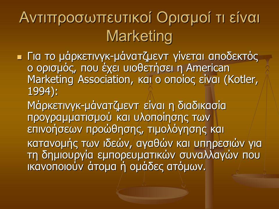 Αντιπροσωπευτικοί Ορισμοί τι είναι Marketing Για το μάρκετινγκ-μάνατζμεντ γίνεται αποδεκτός ο ορισμός, που έχει υιοθετήσει η American Marketing Associ