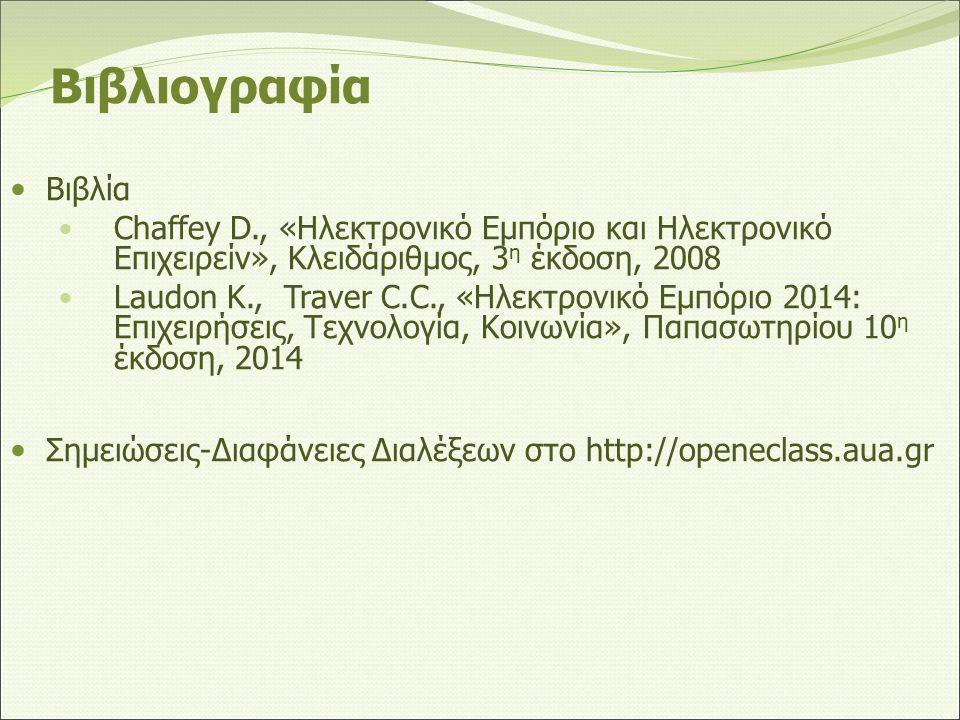 Βιβλιογραφία Βιβλία Chaffey D., «Ηλεκτρονικό Εμπόριο και Ηλεκτρονικό Επιχειρείν», Κλειδάριθμος, 3 η έκδοση, 2008 Laudon K., Traver C.C., «Ηλεκτρονικό Εμπόριο 2014: Επιχειρήσεις, Τεχνολογία, Κοινωνία», Παπασωτηρίου 10 η έκδοση, 2014 Σημειώσεις-Διαφάνειες Διαλέξεων στο http://openeclass.aua.gr