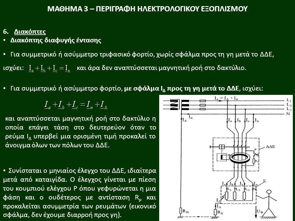 Για συμμετρικό ή ασύμμετρο τριφασικό φορτίο, χωρίς σφάλμα προς τη γη μετά το ΔΔΕ, ισχύει: και άρα δεν αναπτύσσεται μαγνητική ροή στο δακτύλιο. Για συμ