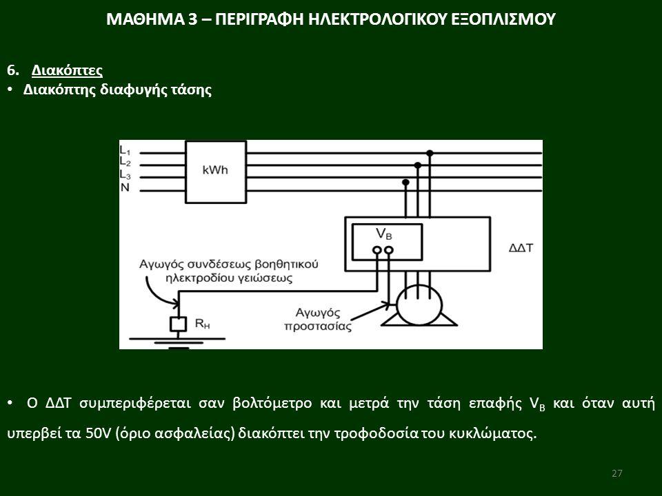 27 Ο ΔΔΤ συμπεριφέρεται σαν βολτόμετρο και μετρά την τάση επαφής V B και όταν αυτή υπερβεί τα 50V (όριο ασφαλείας) διακόπτει την τροφοδοσία του κυκλώμ