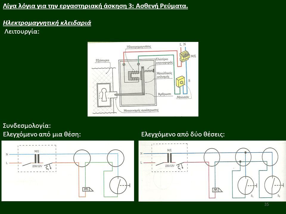 35 Λίγα λόγια για την εργαστηριακή άσκηση 3: Ασθενή Ρεύματα. Ηλεκτρομαγνητική κλειδαριά Λειτουργία: Συνδεσμολογία: Ελεγχόμενο από μια θέση: Ελεγχόμενο