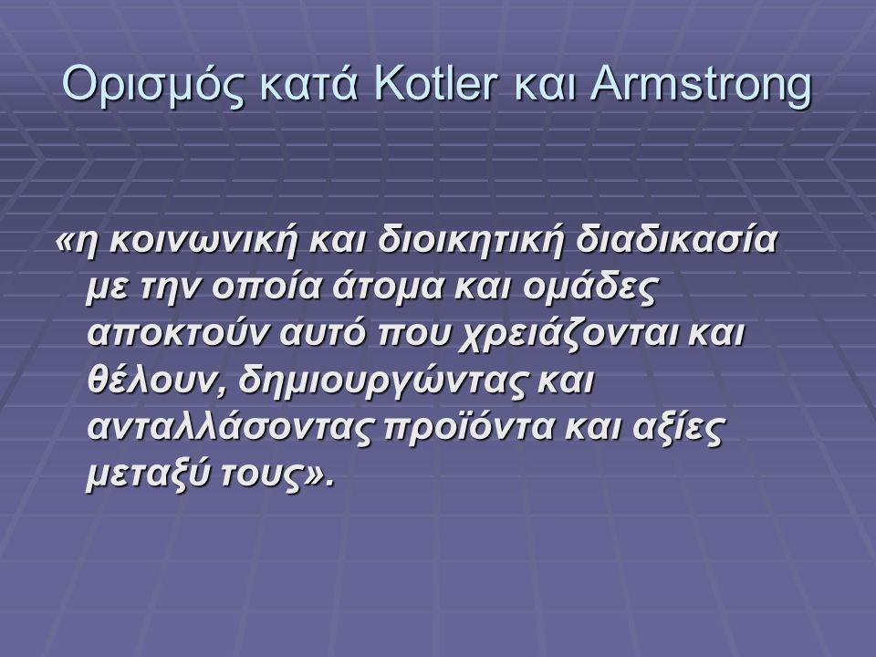 Ορισμός κατά Kotler και Armstrong «η κοινωνική και διοικητική διαδικασία με την οποία άτομα και ομάδες αποκτούν αυτό που χρειάζονται και θέλουν, δημιουργώντας και ανταλλάσοντας προϊόντα και αξίες μεταξύ τους».