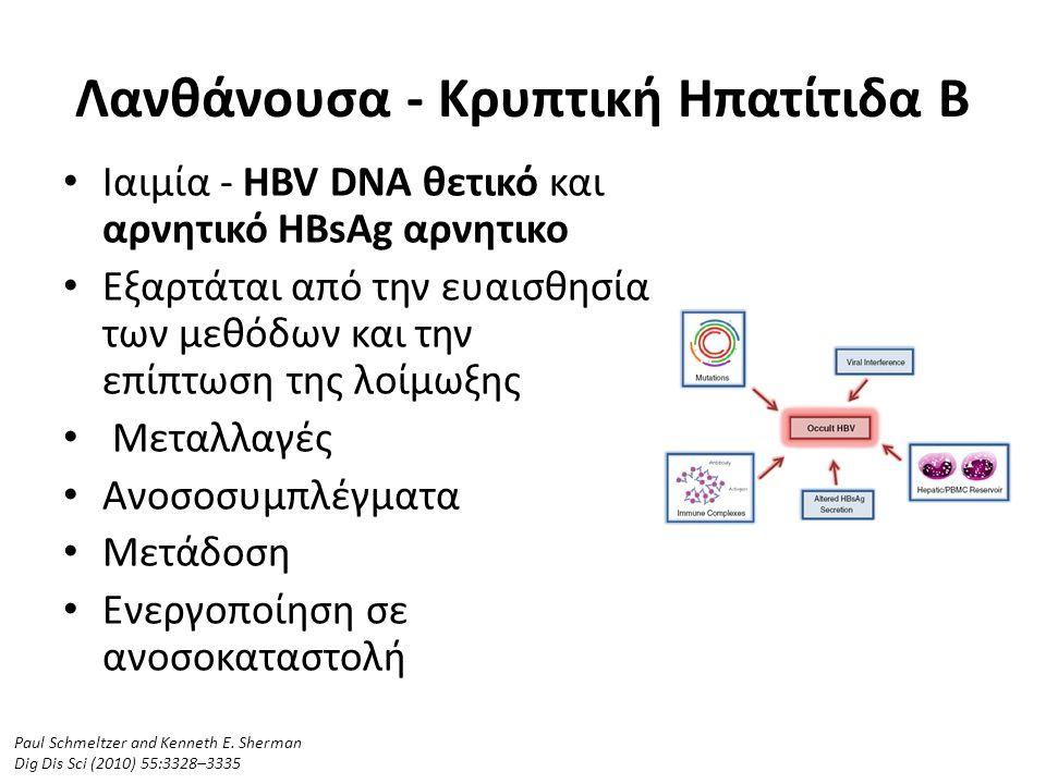 Λανθάνουσα - Κρυπτική Ηπατίτιδα Β Ιαιμία - HBV DNA θετικό και αρνητικό HBsAg αρνητικο Εξαρτάται από την ευαισθησία των μεθόδων και την επίπτωση της λοίμωξης Μεταλλαγές Ανοσοσυμπλέγματα Μετάδοση Ενεργοποίηση σε ανοσοκαταστολή Paul Schmeltzer and Kenneth E.