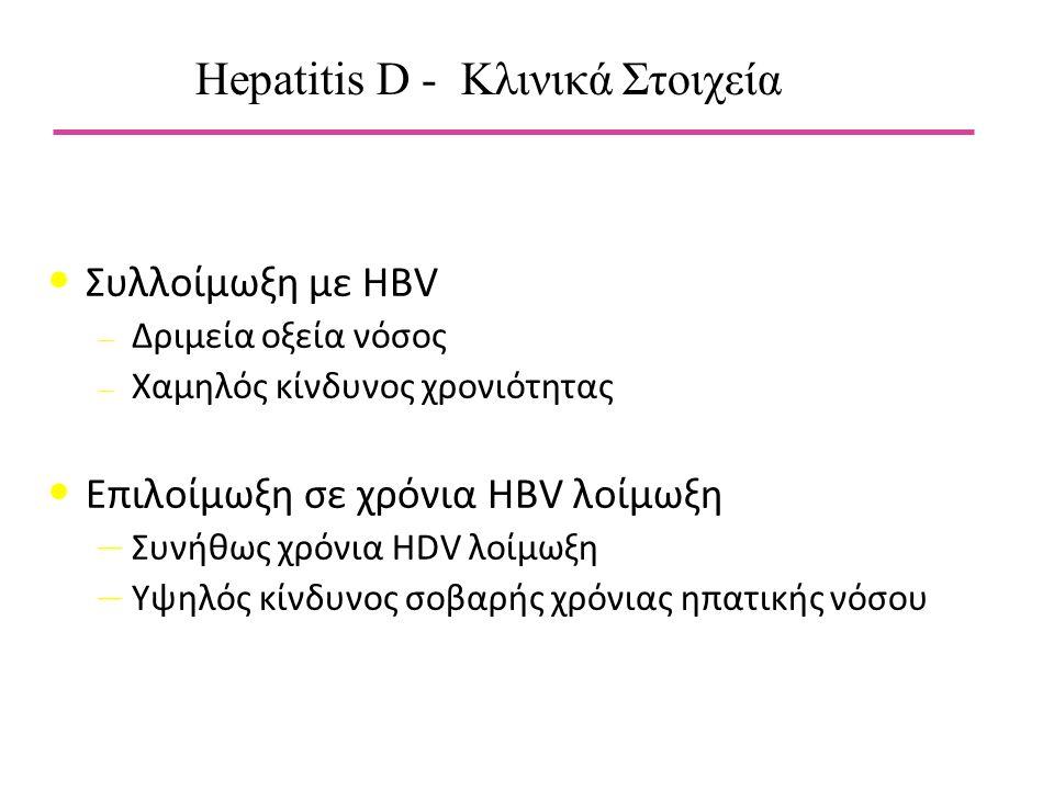 Συλλοίμωξη με HBV – Δριμεία οξεία νόσος – Χαμηλός κίνδυνος χρονιότητας Επιλοίμωξη σε χρόνια HBV λοίμωξη – Συνήθως χρόνια HDV λοίμωξη – Υψηλός κίνδυνος σοβαρής χρόνιας ηπατικής νόσου Hepatitis D - Κλινικά Στοιχεία