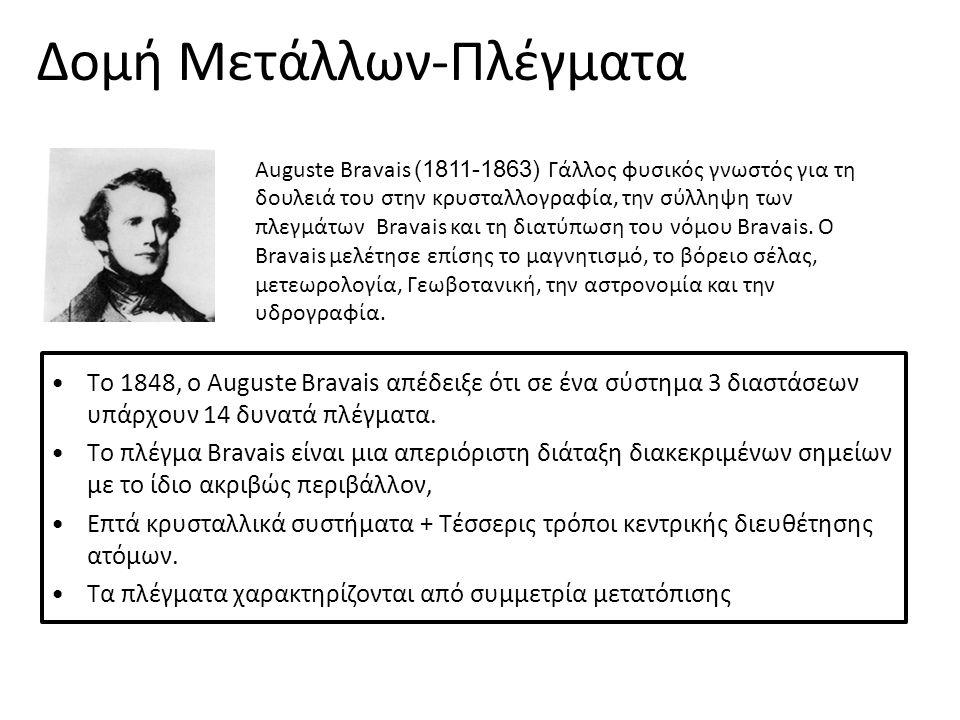 Το 1848, ο Auguste Bravais απέδειξε ότι σε ένα σύστηµα 3 διαστάσεων υπάρχουν 14 δυνατά πλέγµατα. Το πλέγµα Bravais είναι µια απεριόριστη διάταξη διακε