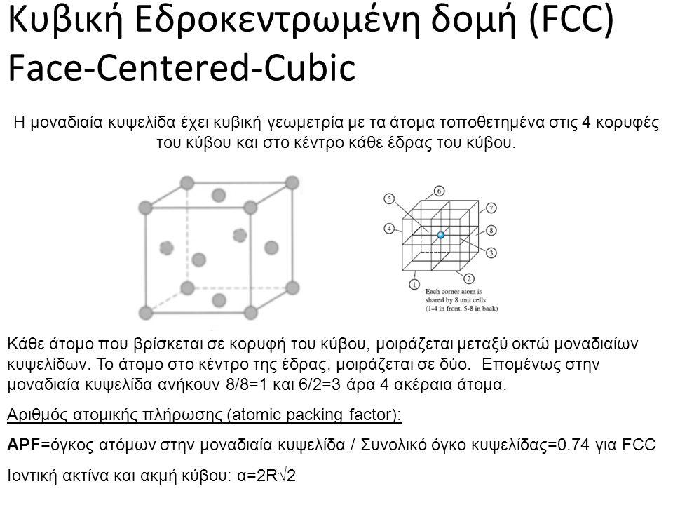 Κυβική Εδροκεντρωμένη δομή (FCC) Face-Centered-Cubic Η μοναδιαία κυψελίδα έχει κυβική γεωμετρία με τα άτομα τοποθετημένα στις 4 κορυφές του κύβου και στο κέντρο κάθε έδρας του κύβου.