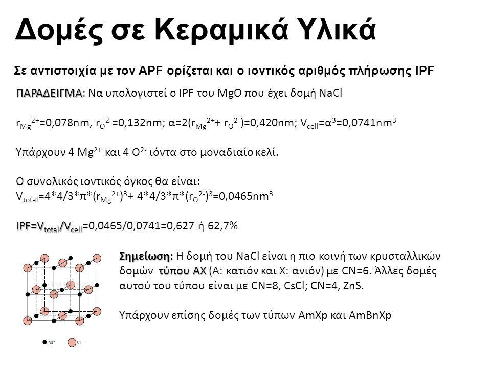 Δομές σε Κεραμικά Υλικά Σε αντιστοιχία με τον APF ορίζεται και ο ιοντικός αριθμός πλήρωσης IPF Σημείωση: τύπου ΑΧ Σημείωση: Η δομή του NaCl είναι η πιο κοινή των κρυσταλλικών δομών τύπου ΑΧ (Α: κατιόν και Χ: ανιόν) με CN=6.