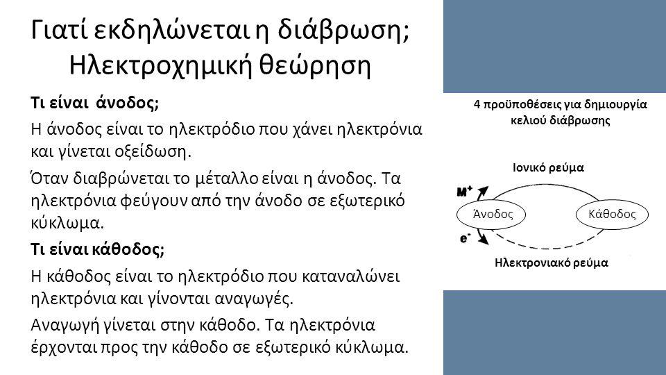 Γιατί εκδηλώνεται η διάβρωση; Ηλεκτροχημική θεώρηση Τι είναι άνοδος; Η άνοδος είναι το ηλεκτρόδιο που χάνει ηλεκτρόνια και γίνεται οξείδωση.