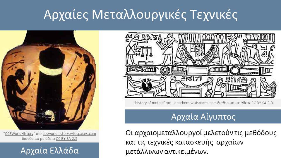 Αρχαίες Μεταλλουργικές Τεχνικές Οι αρχαιομεταλλουργοί μελετούν τις μεθόδους και τις τεχνικές κατασκευής αρχαίων μετάλλινων αντικειμένων.
