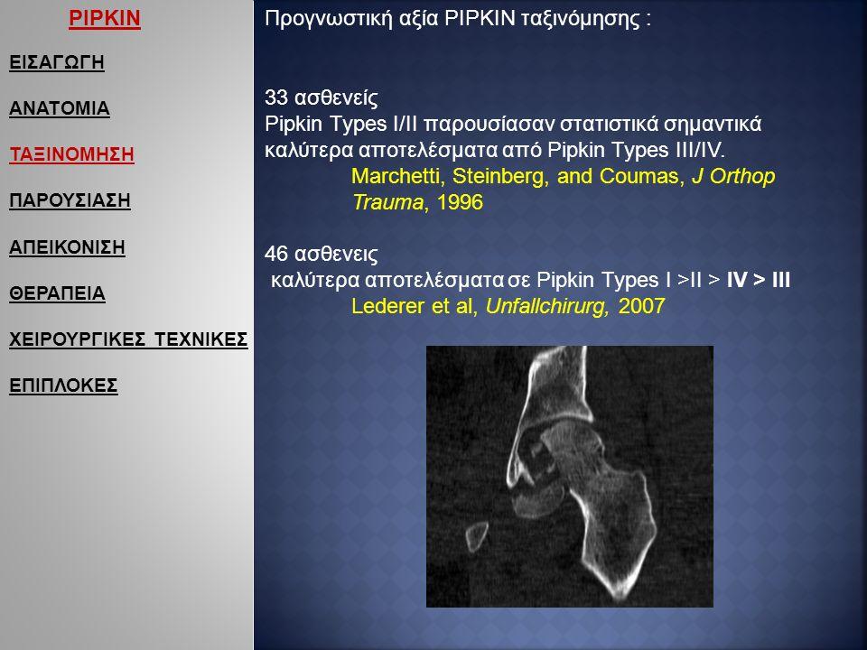 ΕΙΣΑΓΩΓΗ ΑΝΑΤΟΜΙΑ ΤΑΞΙΝΟΜΗΣΗ ΠΑΡΟΥΣΙΑΣΗ ΑΠΕΙΚΟΝΙΣΗ ΘΕΡΑΠΕΙΑ ΧΕΙΡΟΥΡΓΙΚΕΣ ΤΕΧΝΙΚΕΣ ΕΠΙΠΛΟΚΕΣ Προγνωστική αξία PIPKIN ταξινόμησης : 33 ασθενείς Pipkin Types I/II παρουσίασαν στατιστικά σημαντικά καλύτερα αποτελέσματα από Pipkin Types III/IV.