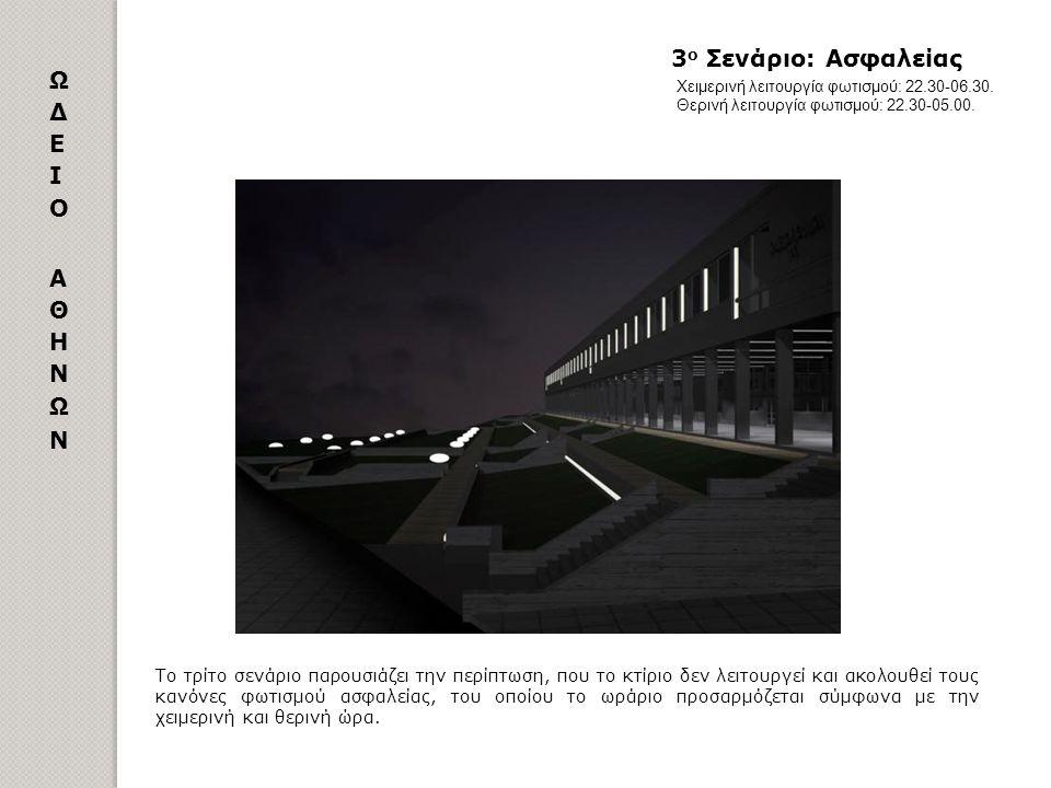 Το τρίτο σενάριο παρουσιάζει την περίπτωση, που το κτίριο δεν λειτουργεί και ακολουθεί τους κανόνες φωτισμού ασφαλείας, του οποίου το ωράριο προσαρμόζ