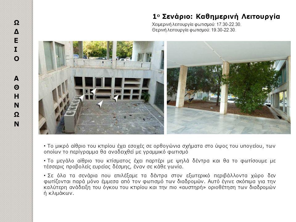 1 ο Σενάριο: Καθημερινή Λειτουργία Το μικρό αίθριο του κτιρίου έχει εσοχές σε ορθογώνια σχήματα στο ύψος του υπογείου, των οποίων το περίγραμμα θα ανα