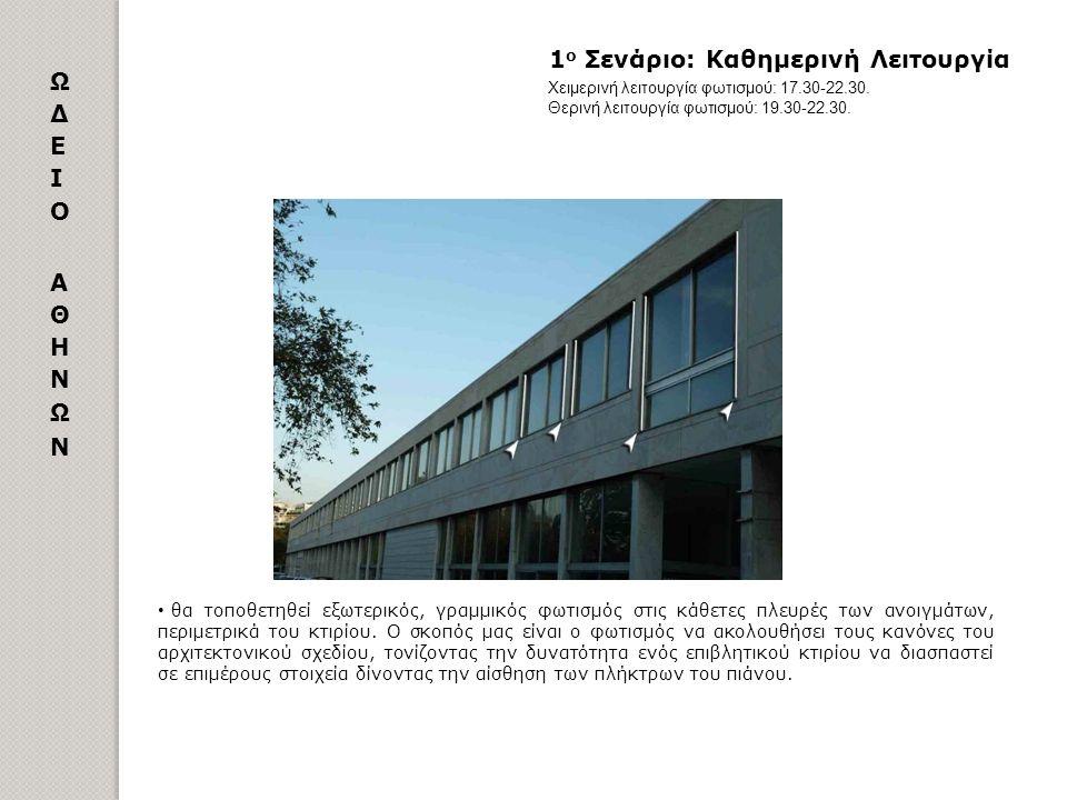 1 ο Σενάριο: Καθημερινή Λειτουργία θα τοποθετηθεί εξωτερικός, γραμμικός φωτισμός στις κάθετες πλευρές των ανοιγμάτων, περιμετρικά του κτιρίου. Ο σκοπό