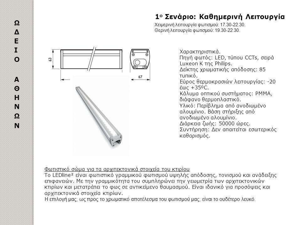 Παράρτημα Αριθμός και ισχύς φωτιστικών σωμάτων ΤΥΠΟΣ ΦΩΤΙΣΤΙΚΟΥ ΑΡΙΘΜΟΣ ΜΕΓΕΘΟΣ Η΄ΣΧΗΜΑ ΙΣΧΥΣ ΜΟΝΑΔΑΣ ΣΥΝΟΛΙΚΗ ΙΣΧΥΣ Philips LEDline² 5941174 mm48 W28.512 W Philips LEDline² 50594 mm24 W1.200 W Philips LEDline² 273304 mm12 W3.276 W Philips Vaya Linear 3871000 mm45 W17.415 W Philips Vaya Linear 15333 mm15 W225 W Philips Market LED BBG300 128στρογγυλά3,1 W396,80 W Philips DecoFlood² LED 4προβολείς53 W212 W