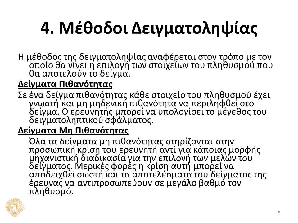 8 4. Μέθοδοι Δειγματοληψίας Η μέθοδος της δειγματοληψίας αναφέρεται στον τρόπο με τον οποίο θα γίνει η επιλογή των στοιχείων του πληθυσμού που θα αποτ