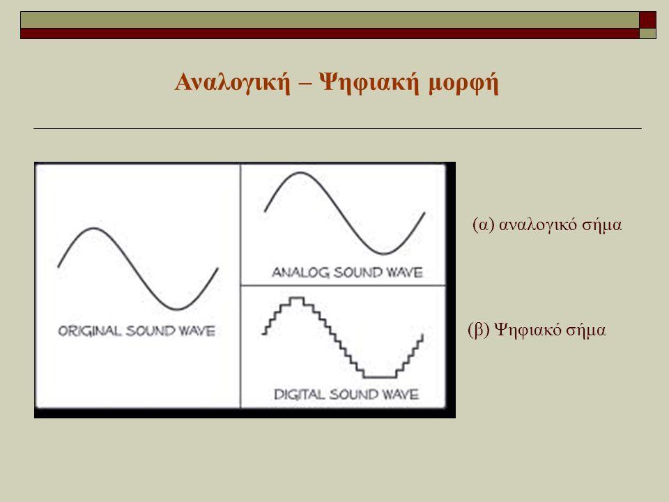 Αναλογική – Ψηφιακή μορφή (α) αναλογικό σήμα (β) Ψηφιακό σήμα
