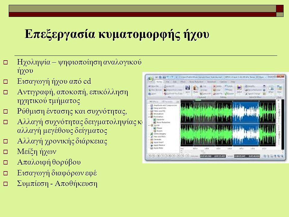 Επεξεργασία κυματομορφής ήχου  Ηχοληψία – ψηφιοποίηση αναλογικού ήχου  Εισαγωγή ήχου από cd  Αντιγραφή, αποκοπή, επικόλληση ηχητικού τμήματος  Ρύθ