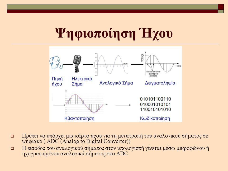 Ψηφιοποίηση Ήχου  Πρέπει να υπάρχει μια κάρτα ήχου για τη μετατροπή του αναλογικού σήματος σε ψηφιακό ( ADC (Analog to Digital Converter))  Η είσοδο