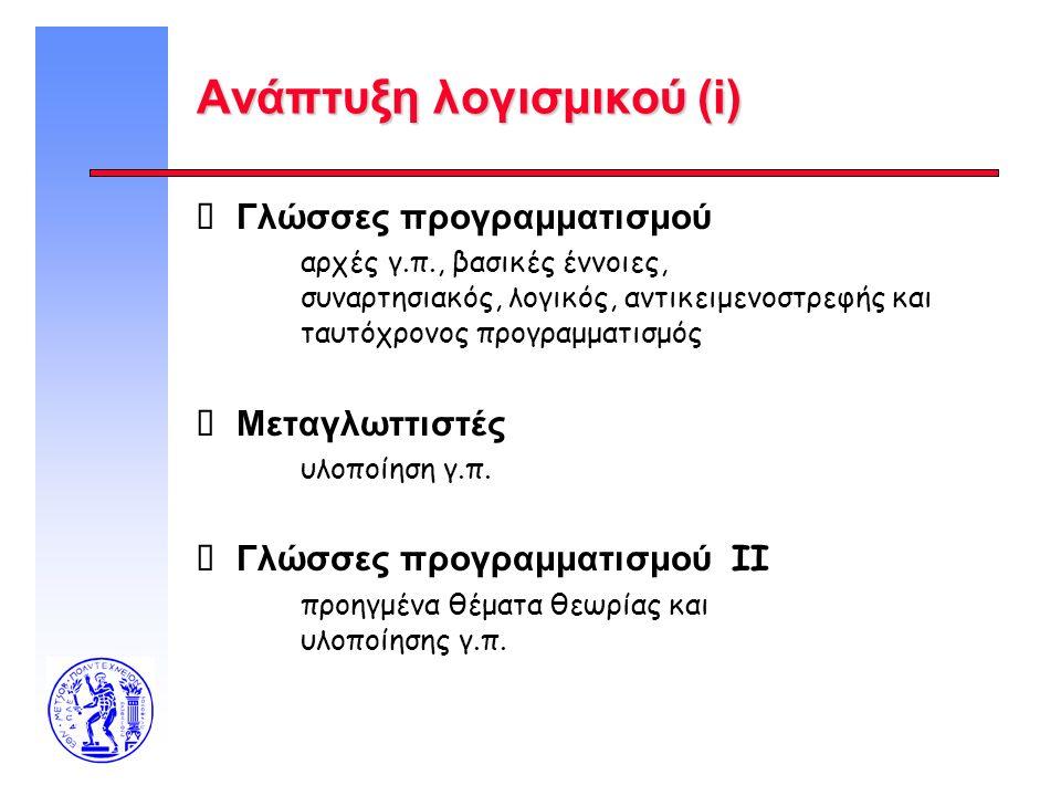 Ανάπτυξη λογισμικού (i)  Γλώσσες προγραμματισμού αρχές γ.π., βασικές έννοιες, συναρτησιακός, λογικός, αντικειμενοστρεφής και ταυτόχρονος προγραμματισ