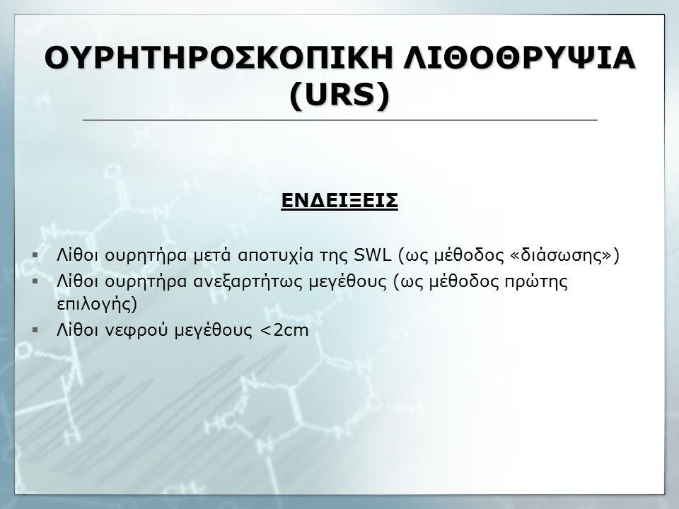 ΟΥΡΗΤΗΡΟΣΚΟΠΙΚΗ ΛΙΘΟΘΡΥΨΙΑ (URS) ΕΝΔΕΙΞΕΙΣ  Λίθοι ουρητήρα μετά αποτυχία της SWL (ως μέθοδος «διάσωσης»)  Λίθοι ουρητήρα ανεξαρτήτως μεγέθους (ως μέθοδος πρώτης επιλογής)  Λίθοι νεφρού μεγέθους <2cm