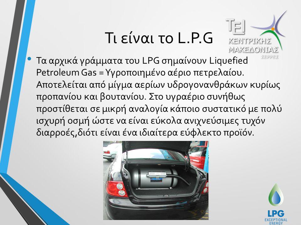 Τι είναι το L.P.G Τα αρχικά γράμματα του LPG σημαίνουν Liquefied Petroleum Gas = Υγροποιημένο αέριο πετρελαίου.