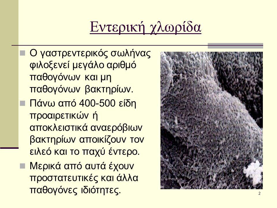 2 Εντερική χλωρίδα Ο γαστρεντερικός σωλήνας φιλοξενεί μεγάλο αριθμό παθογόνων και μη παθογόνων βακτηρίων. Πάνω από 400-500 είδη προαιρετικών ή αποκλει