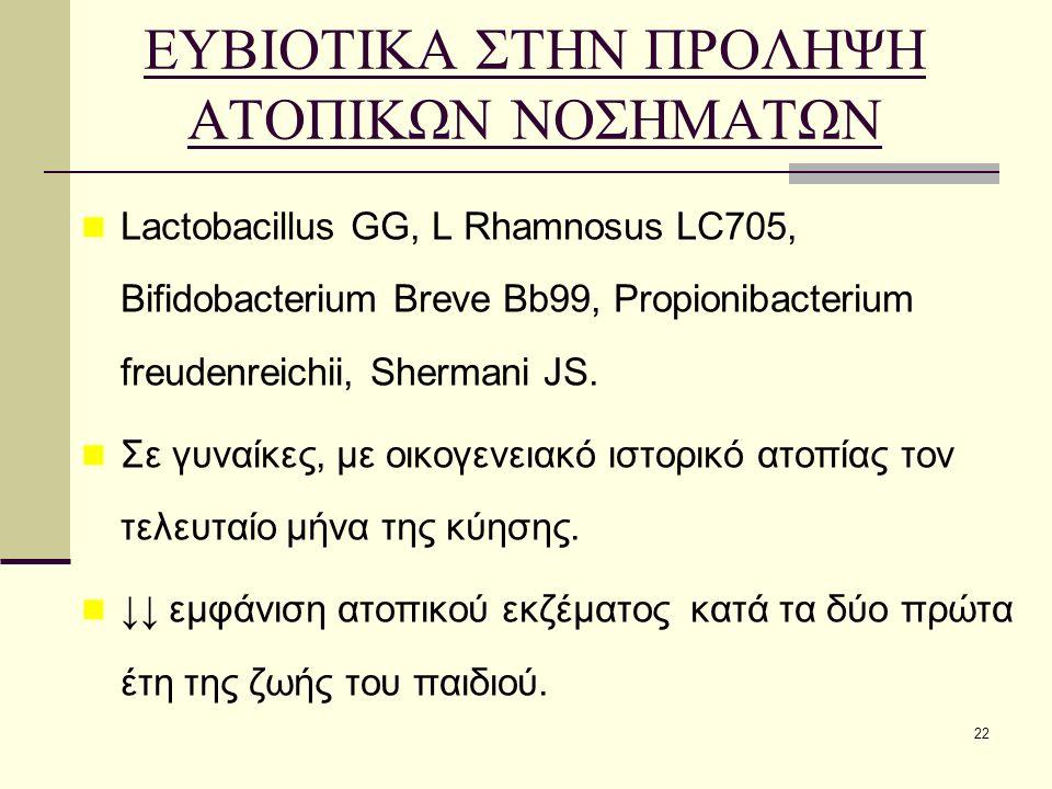 22 ΕΥΒΙΟΤΙΚΑ ΣΤΗΝ ΠΡΟΛΗΨΗ ΑΤΟΠΙΚΩΝ ΝΟΣΗΜΑΤΩΝ Lactobacillus GG, L Rhamnosus LC705, Bifidobacterium Breve Bb99, Propionibacterium freudenreichii, Shermani JS.